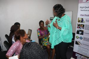 Mrs. Fayo Williams addressing the trainees