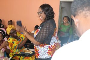 Mrs. Fayo Williams during the shoe making class