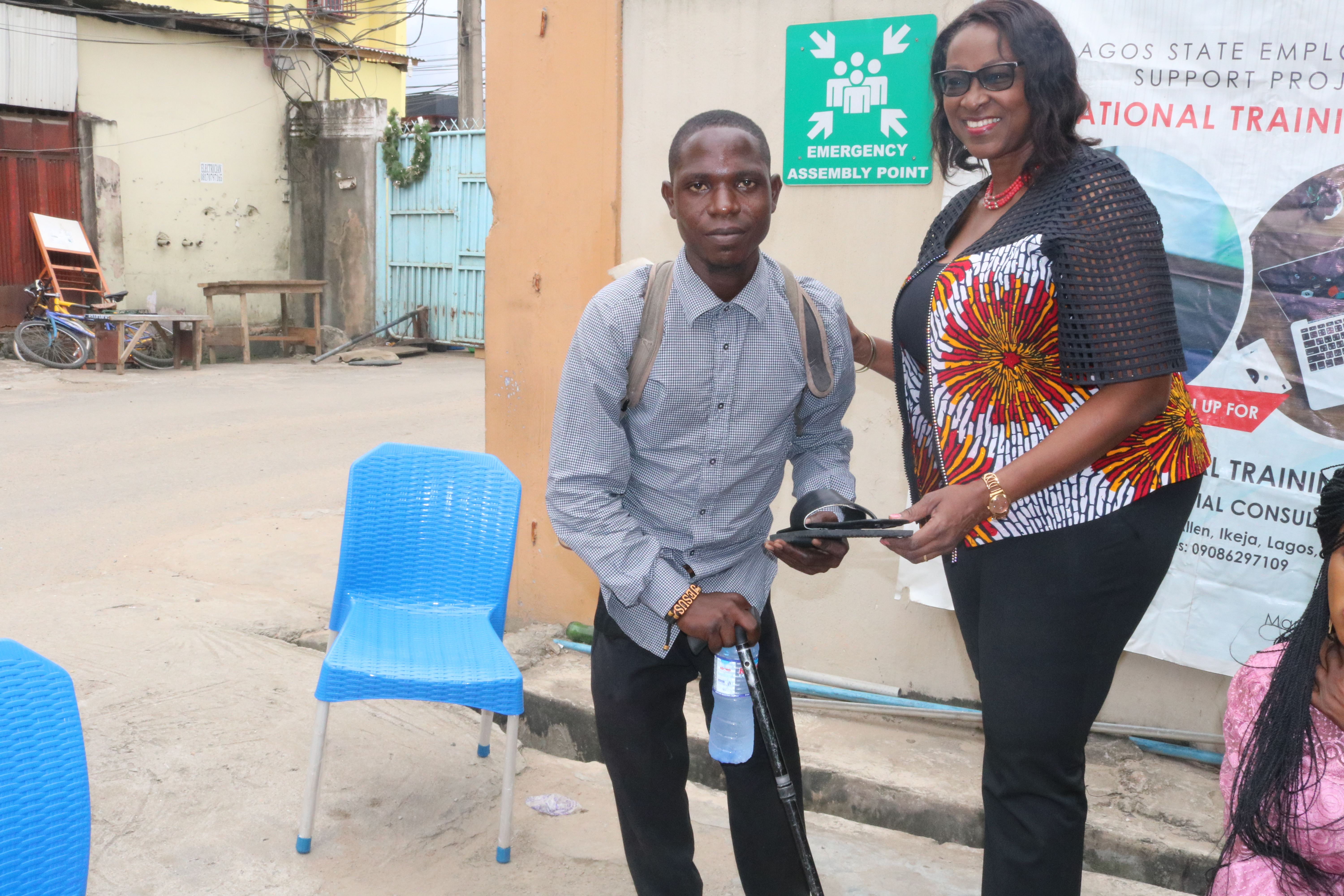 Mrs Fayo Williams with the shoe making trainers